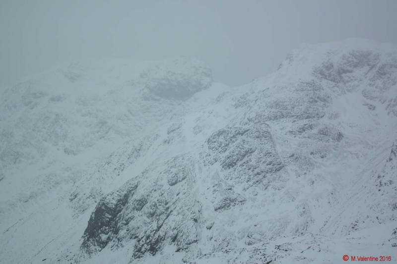 06 - Scafell, Mickledore, Scafell Pike - Almost lost in the gloom as the snow started. (Taken from Bowfell Summit).jpg