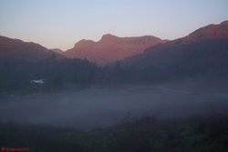Sunrise over Langdale Pikes.