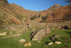 Looking up Harrison Stickle & Tarn Crag.