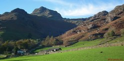 Langdale Pikes from valley level.